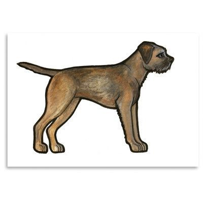Americanflat Border Terrier by Sally Pattrick Print of Painting Size: