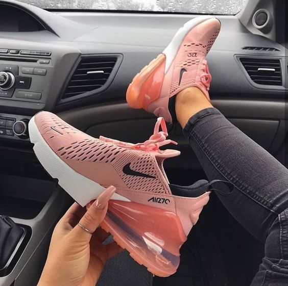 wholesale dealer afa53 88cad Nike Air Max 270 Women's Shoe in pink, black and white. One of the most  popular Nike sneakers of 2018.