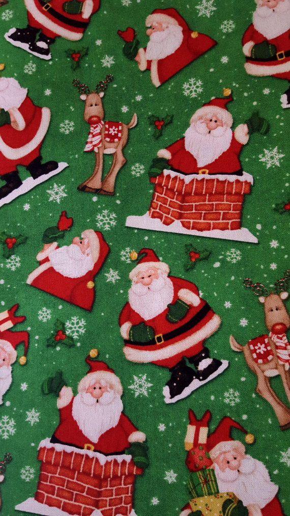 #cottonfabric BELIEVE CHRISTMAS Santa Rudolph Vintage Toss