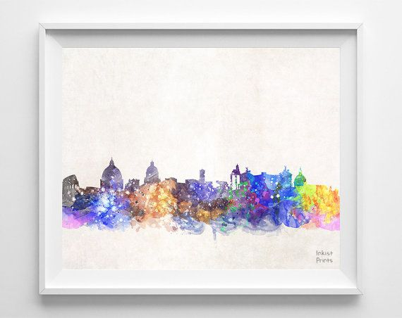 Rome Skyline Italy Watercolor Poster Italian Print by InkistPrints, $11.95 - Shipping Worldwide! [Click Photo for Details]
