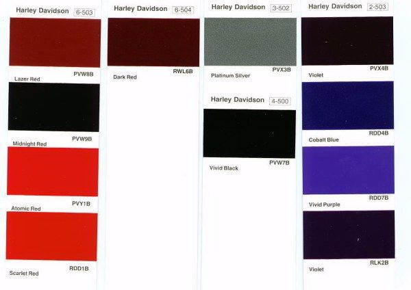 Harley Davidson Paint Color Codes