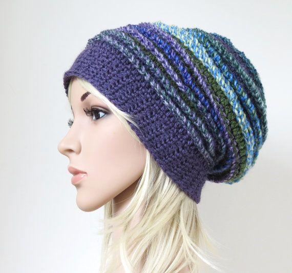 e2462fbe39427 Purple Beanie Boho Crochet Hat Chunky by MinnaMatildaDesigns