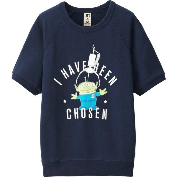 UNIQLO DISNEY PROJECT Short Sleeve Sweat Pullover (€26) ❤ liked on Polyvore featuring tops, hoodies, navy and uniqlo