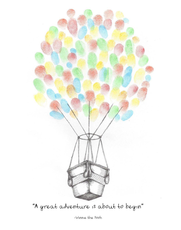 Instant Download!!! Hot Air Balloon Fingerprint Guest Book