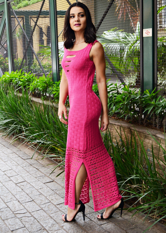Vestido longo rosa e preto