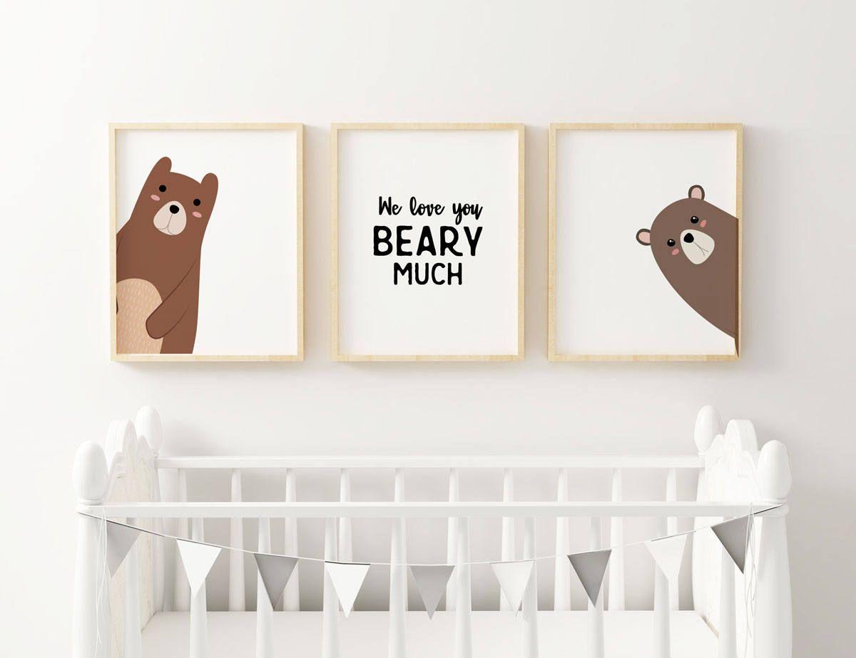 f1d6d87a5fde7 Bear Nursery Decor, Tribal Nursery Animals, Bear Prints, Rustic ...