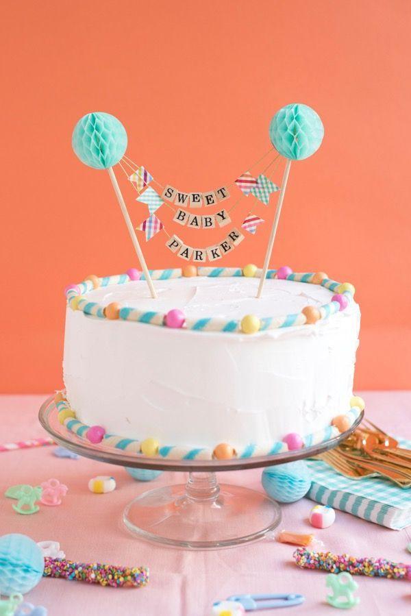 Baby 1st Birthday Cake Topper One Letter Cake Flag Straws Baby Shower Decor BE