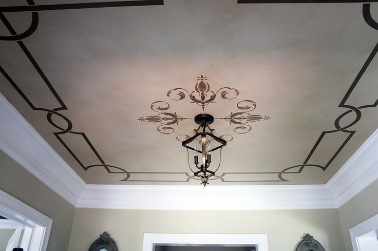 Stenciled Ceiling Painted Ceiling Ceiling Design Dining Room Ceiling