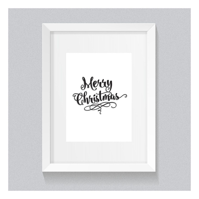 1 affiche poster joyeux no l merry christmas typo en noir - Joyeux noel noir et blanc ...