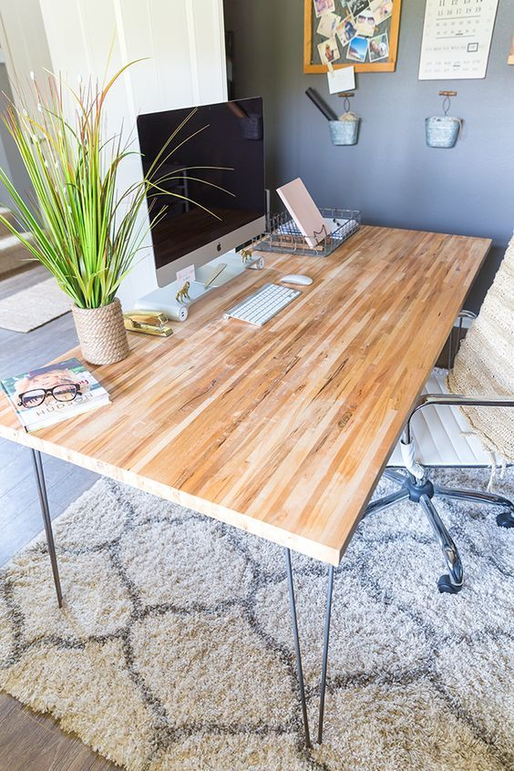 prodigious Make Your Own Butcher Block Table Part - 8: Take these easy steps to build your own butcher block desk using hairpin  legs. Click to read the full tutorial or pin to save for later!