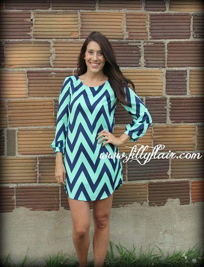 mint and navy chevron dress, 3/4 sleeve chevron dress, turquoise ...