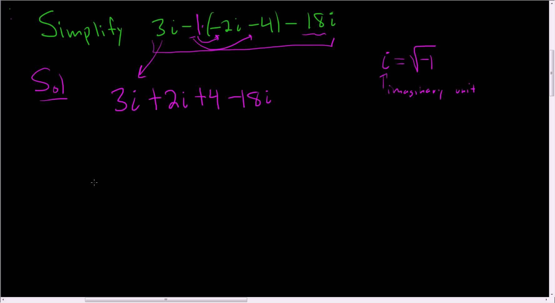 Adding and subtracting complex numbers example 3 math