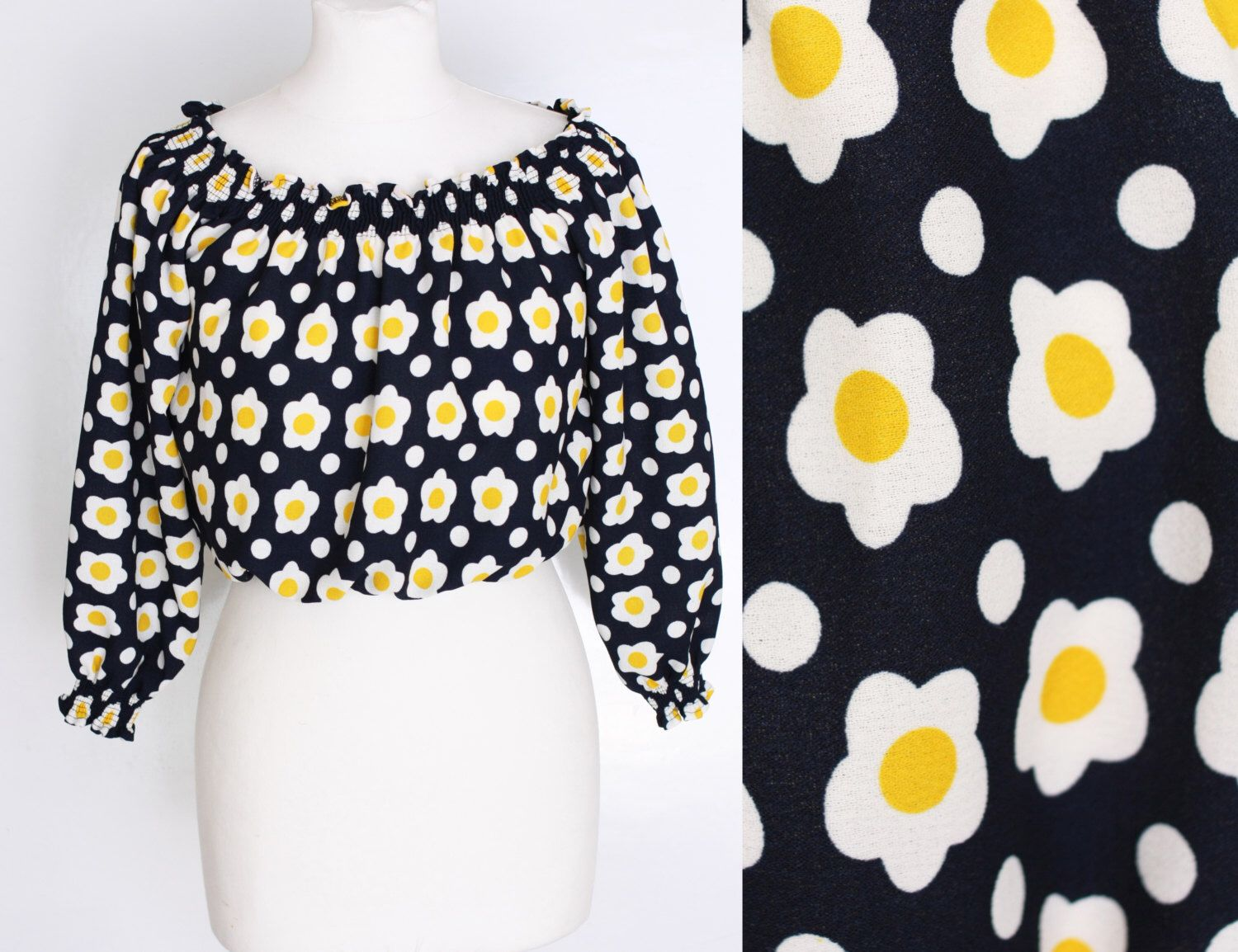 ea8755d49a25cb vintage 70s off shoulder crop top puffy sleeve daisy flower print blouse  yellow white black polkadot