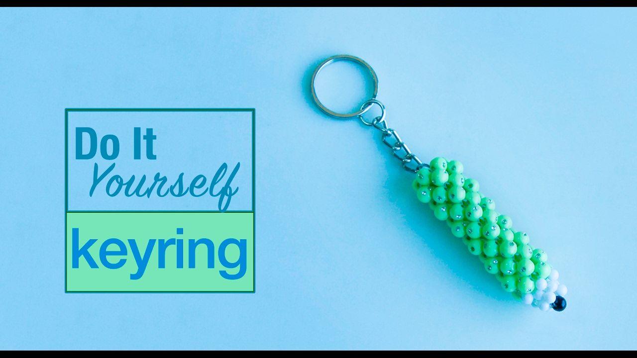 How To Make Pencil Keychain Diy Beaded Keyring Diy Keyring Diy Keychain Bead Art