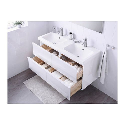 Attractive GODMORGON / ODENSVIK Sink Cabinet With 4 Drawers, High Gloss White High  Gloss White 120x49x64