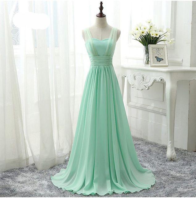 Mint Green Bridesmaid Dress Royal Blue Pink Party Dresses Chiffon Floor  Length Vestido De Festa Cheap Bridesmaid Dress Under 50 9bdafe6432a1