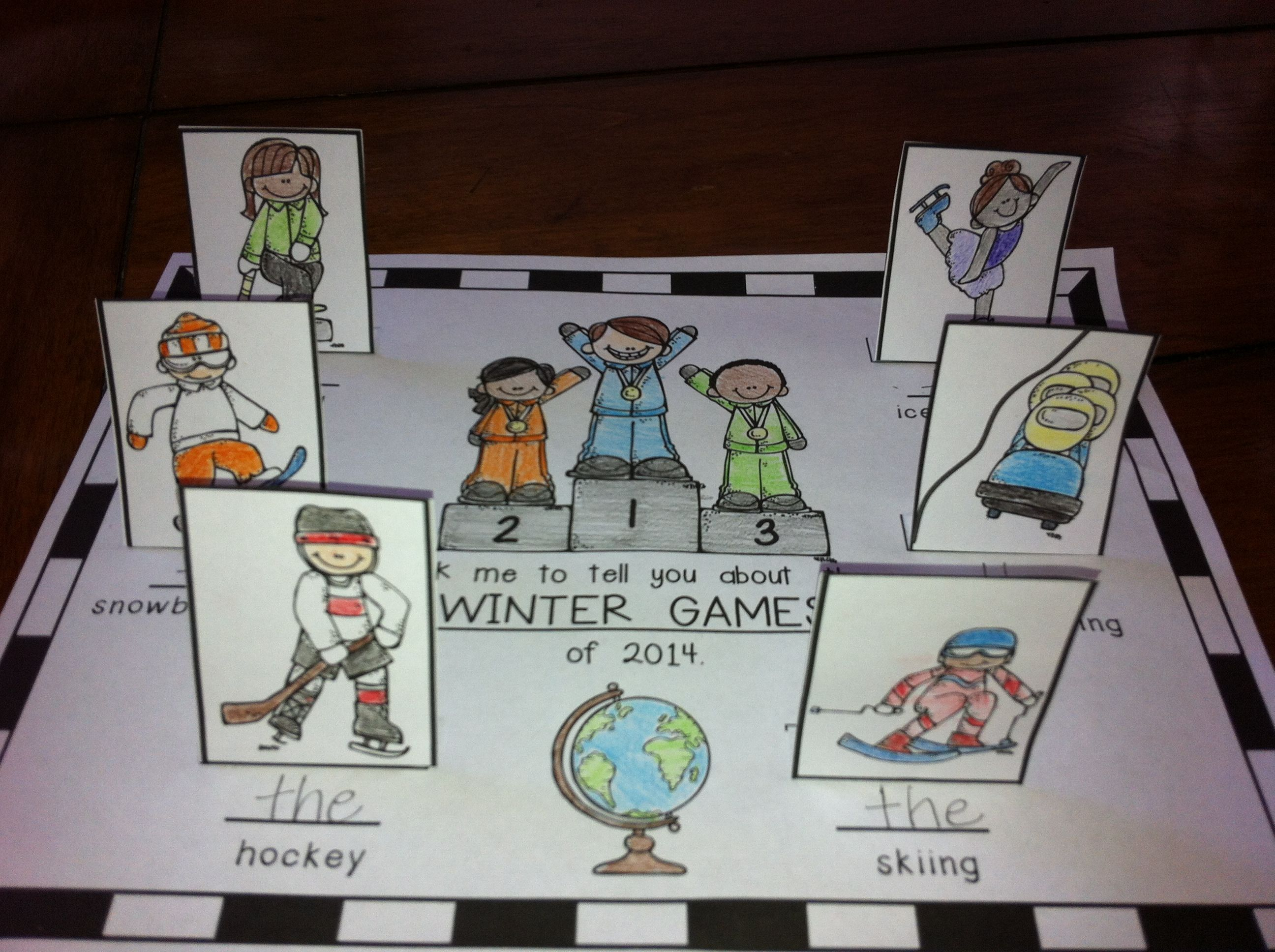 Pop Up Activity To Get Kiddos Talking About The Winter Games Of Color Cut Fold Under And