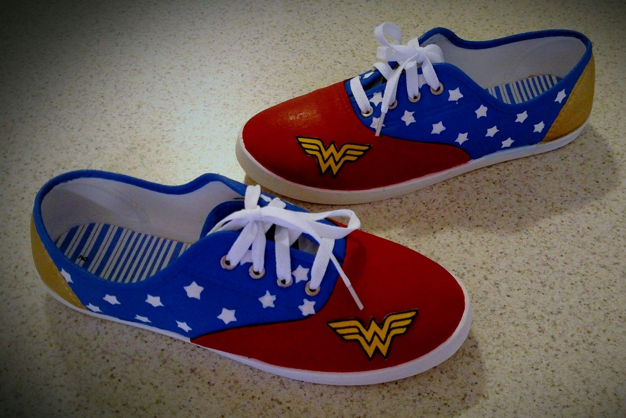 daea47d219a40f Painted Wonder Woman canvas shoes