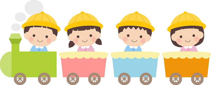かわいい幼稚園生が乗った汽車のイラスト イラスト 遊園地 イラスト 手作りアルバム デザイン