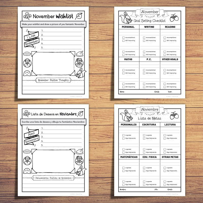Welcome November - Monthly Activities BUNDLE #welcomenovember This resource includes English and Spanish version of Welcome November - Monthly Activity. These are PERFECT for your bilingual or dual language classrooms! This resource offers an easy and sweet process children like to go about at the beginning of each month. The process of planning is the best way our projects come true and if your students spend a few minutes working around their ideas, they can create an overview to achieve thei