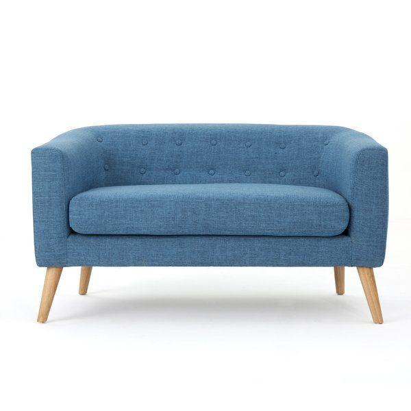 Colton Loveseat Love Seat Blue Loveseat Mid Century Modern