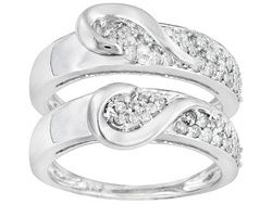 Diamond .50ctw Round 10k White Gold Ring Set Of 2