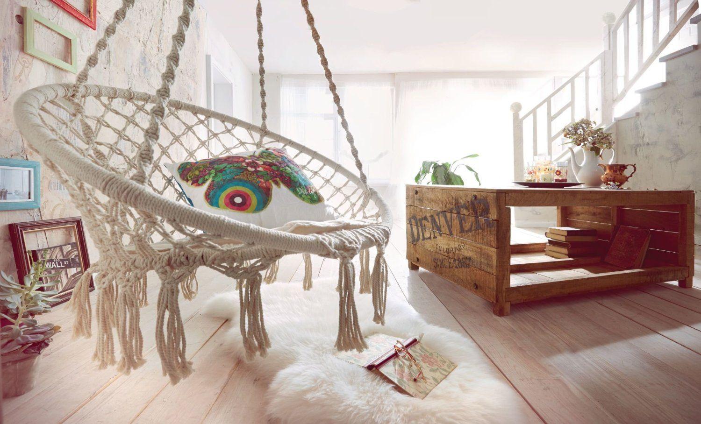 Amazon.de: Hängesessel aus Baumwolle, mit Kissen, Weiß