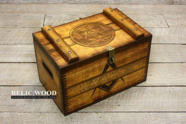 Freemason Compass and Square Ammo Box