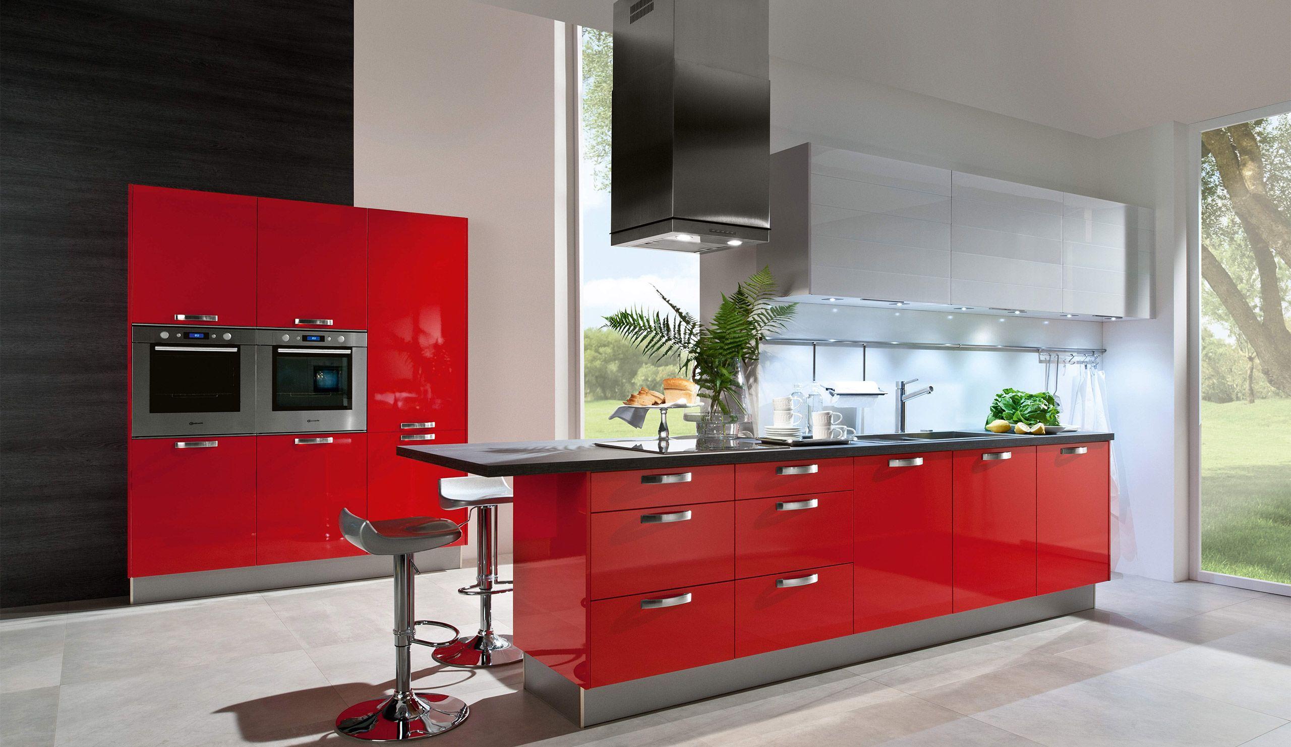 Einbauküche Aspen Hochglanz Rot | Haus | Pinterest | Einbauküchen ...