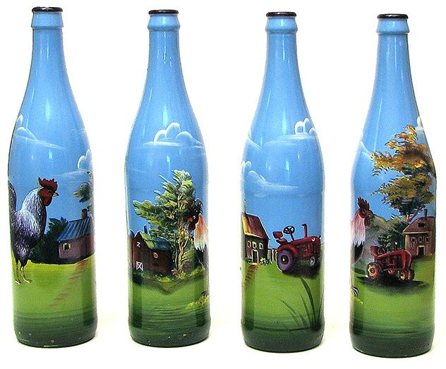 painted bottles painted glass wine bottle w rooster