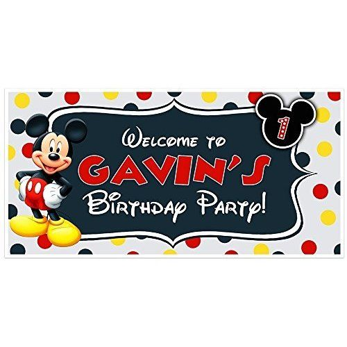 Amazon OH TWO DLES Mickey Mouse Birthday Banner