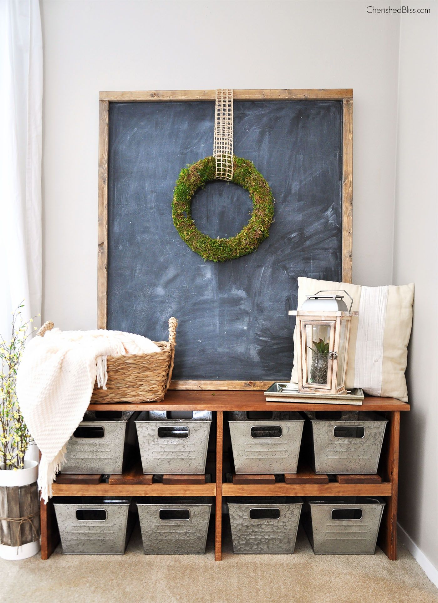 Love This Rustic Farmhouse Entryway! That Bench, Those Bins! I Want It All