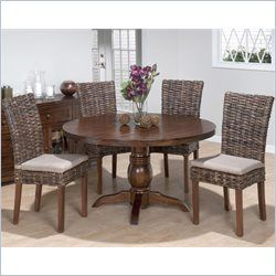 Jofran 5 Piece Round Dining Set With Rattan Chairs In