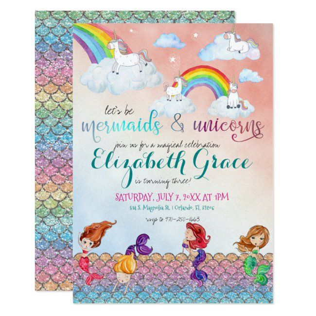 Mermaids, Unicorns & Rainbows Party Invitations   Zazzle com - Rainbow party invitations, Party invitations, Unicorn invitations, Printable unicorn birthday invitations, Invitations party, Unicorn birthday parties - Who says you have to decide   Whimsical yet elegant, the mermaid and unicorn is perfect for any children's celebration  These cards can be personalized for your special occasion and would make the perfect cards for your baby shower, birthday party and many more special occasions  Add your custom wording to this design by using the  Edit this design template  boxes on the right hand side of the item, or click the blue  Customize it  button to arrange the text, change the fonts and colours and to also add additional information or images to this design   If you need any coordinating items, (thank you cards, etc ) please contact me for a custom order  For custom order, do not place this merchandise in your cart  Instead, click on the  contact seller  button and email me your request  A link to your merchandise will be emailed to you once the item is available  You can use that link to place your order  Please allow up to 48 hours