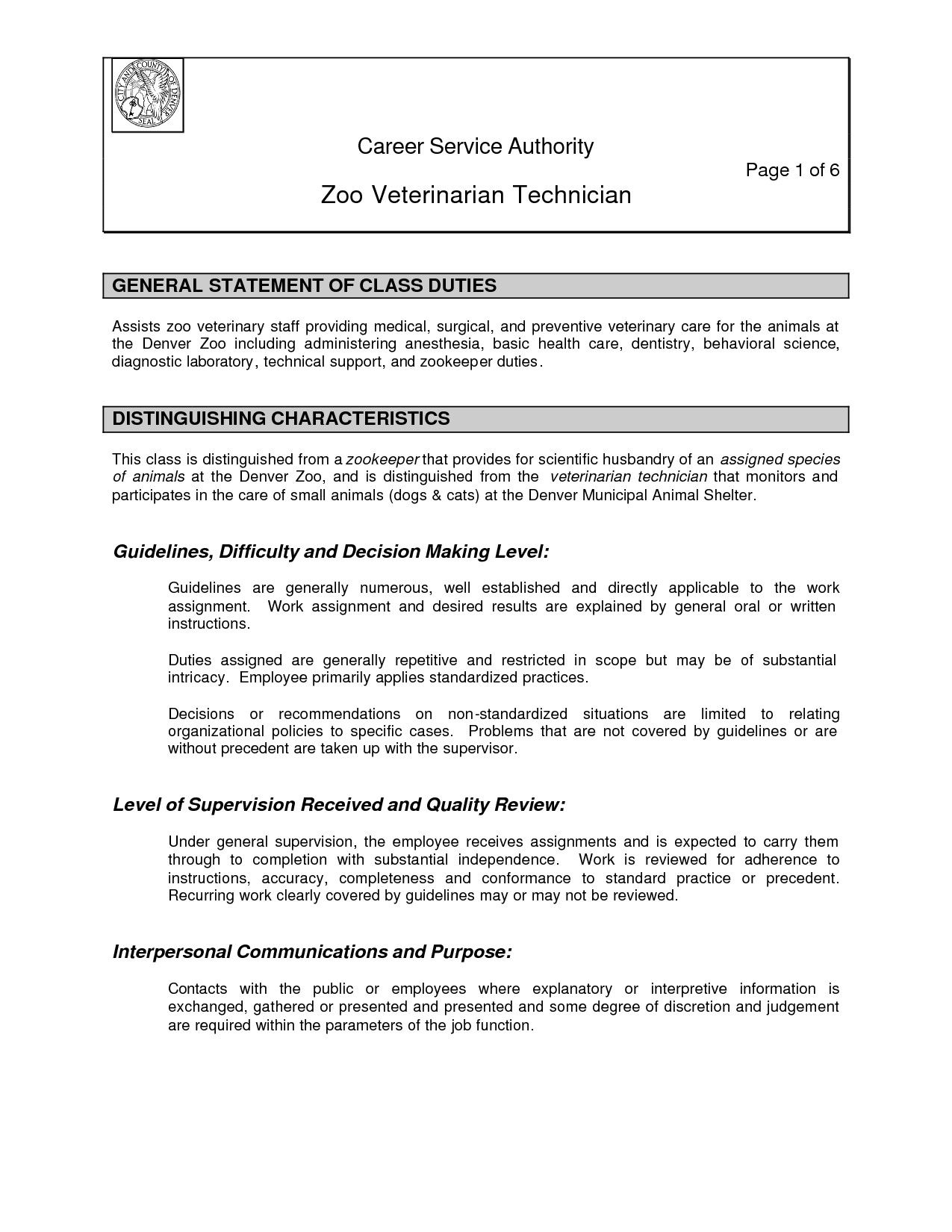 Animal Care Assistant Sample Resume Beauteous Zoo  Zoos Template And Sample Resume