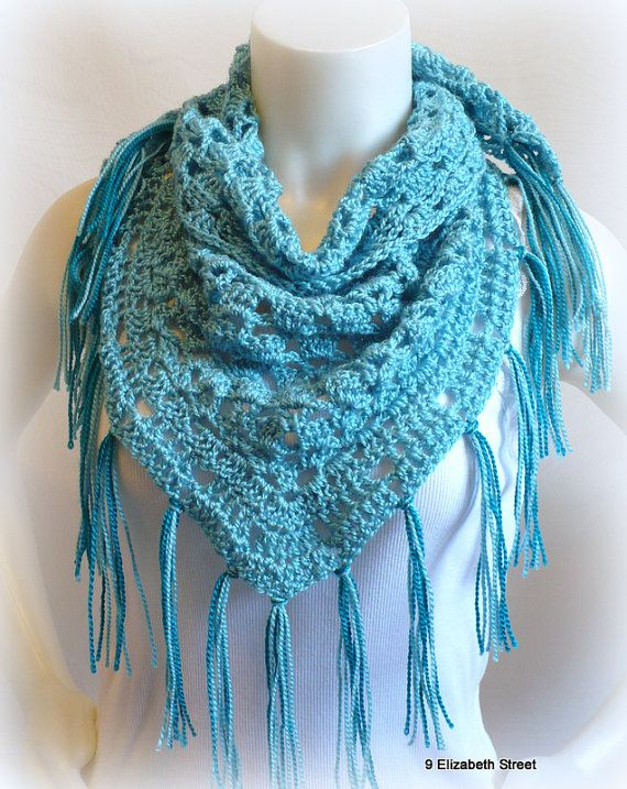 Turquoise Triangle Scarf, Crochet Neck Shawl with fringe, baktus ...
