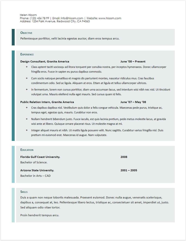 Resume Template Google Docs Download