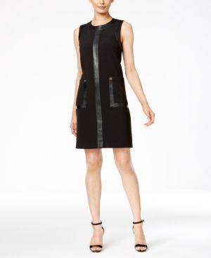 Calvin Klein Faux-Leather-Trim Shift Dress - Black 6