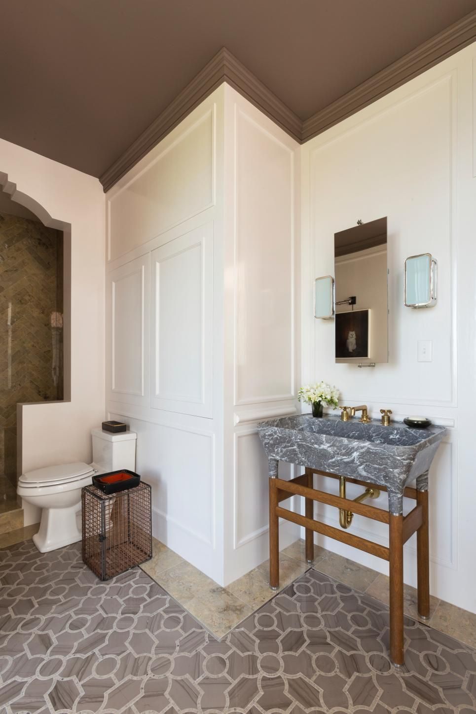 Custom Design Bathrooms Amazing A Sink Basin Carved From Solid Marble And A Customdesigned Shower Design Decoration