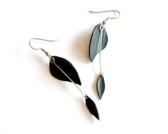 Black rubber double leaf earrings handmade by artist Melissa Pedersen (made from recycled bike inner tube!)