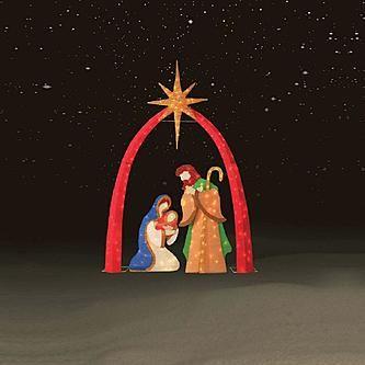 Trim A Home 3 Pc 72 Chenille Nativity Scene Kmart 75 59 Outdoor Christmas Christmas Nativity Scene Outdoor Nativity