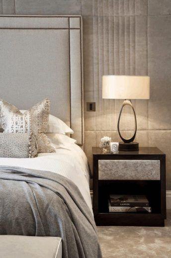 Light Grey Bedside Table: Bedroom, Light Gray Textured Blanket Dark Brown Bedside
