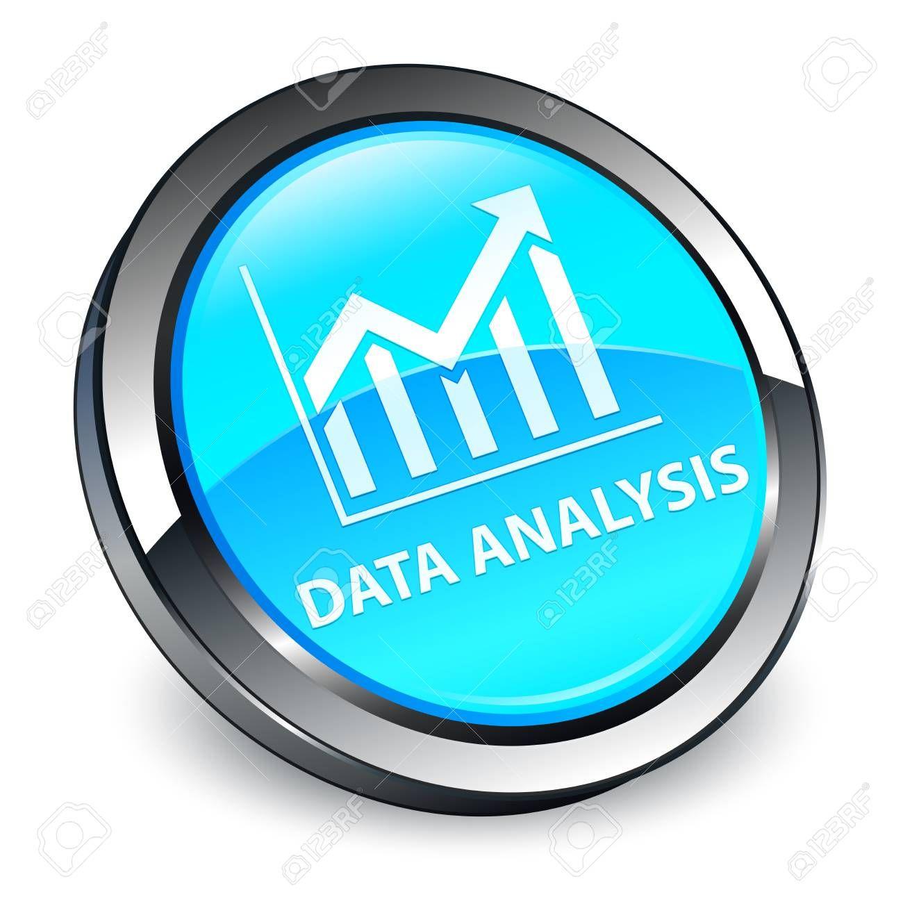 Data Analysis Statistics Icon Isolated On 3d Cyan Blue Round
