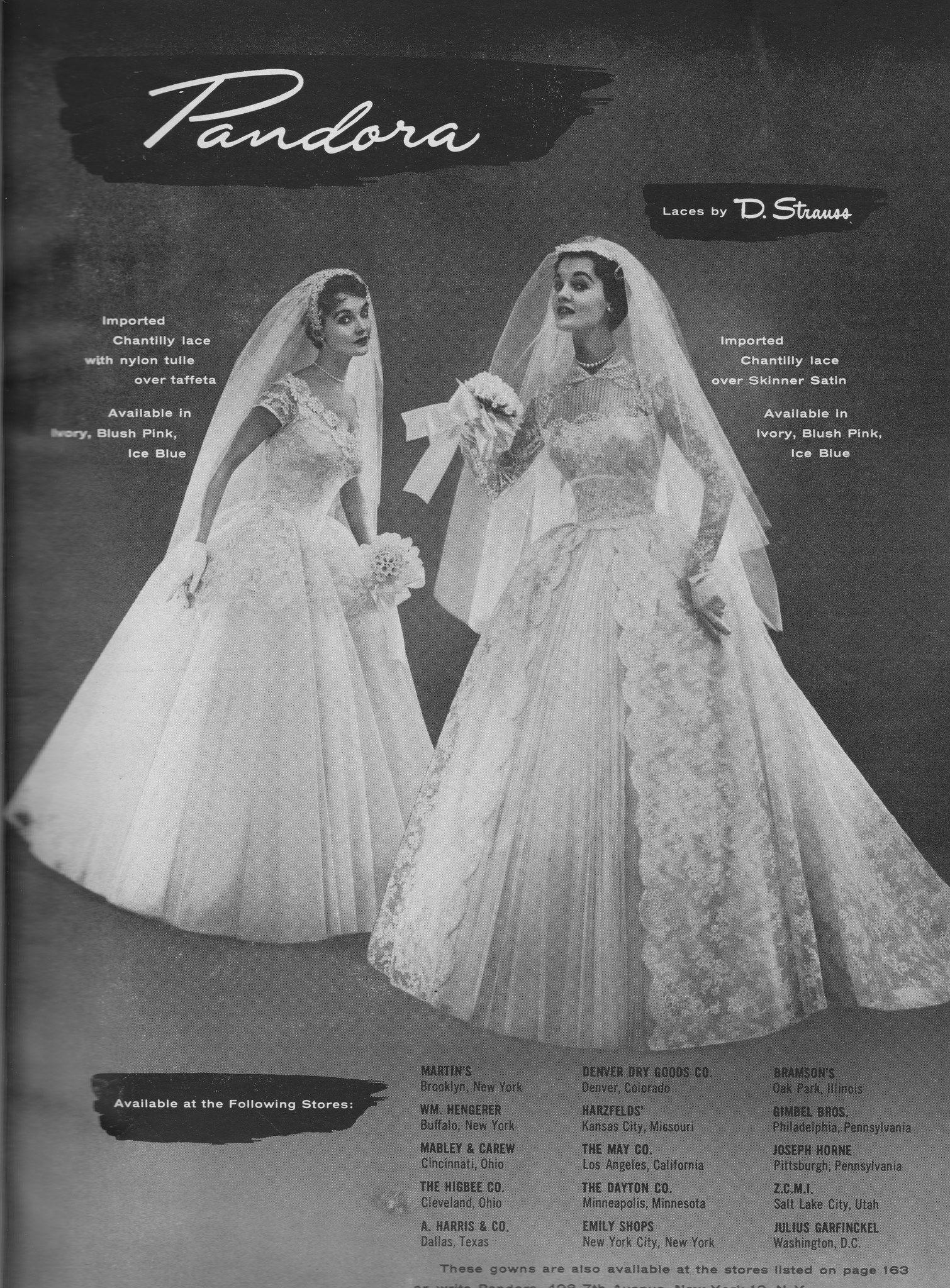 Pandora 1955 Vintage Wedding Dress 1950s Wedding Gowns Vintage Wedding Dresses Vintage
