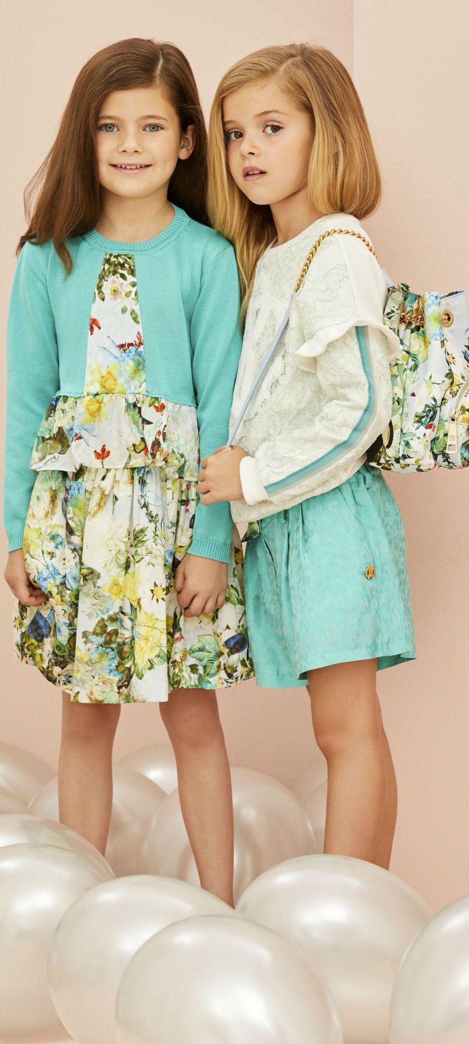a04b1b3109 Roberto Cavalli Junior Girls Blue Floral Print Dress Summer 2018.   kidsfashion  style  fashion  kids  girl  robertocavalli  summer