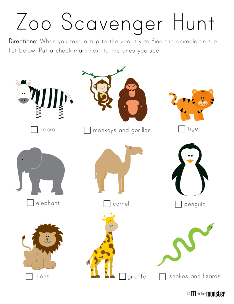 zoo scavenger hunt printable m is for monster preschool kindergarten pinterest zoo. Black Bedroom Furniture Sets. Home Design Ideas