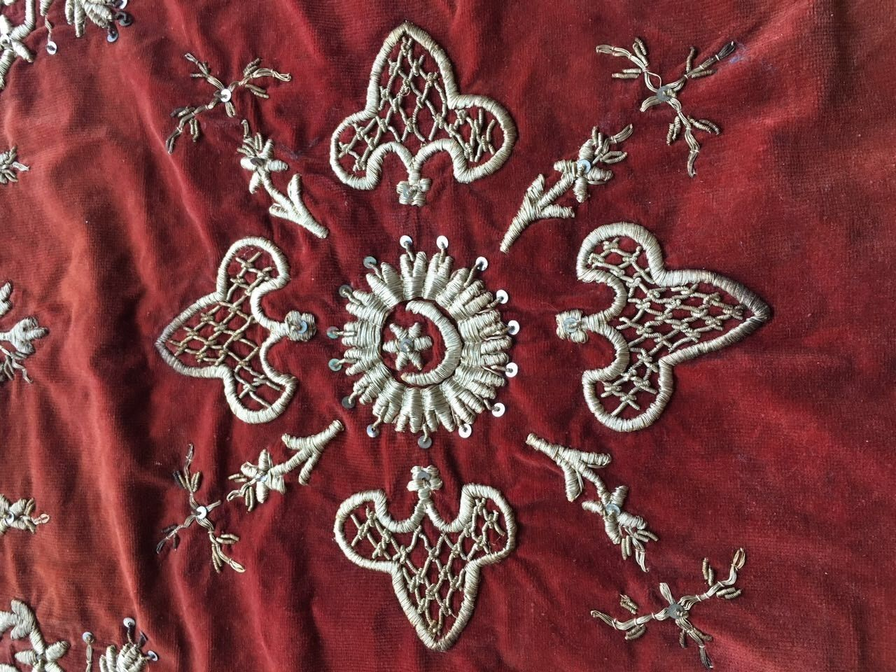 Antique Ottoman Turkish Silver Metallic Hand Embroidery Bohca 2 • $275.00
