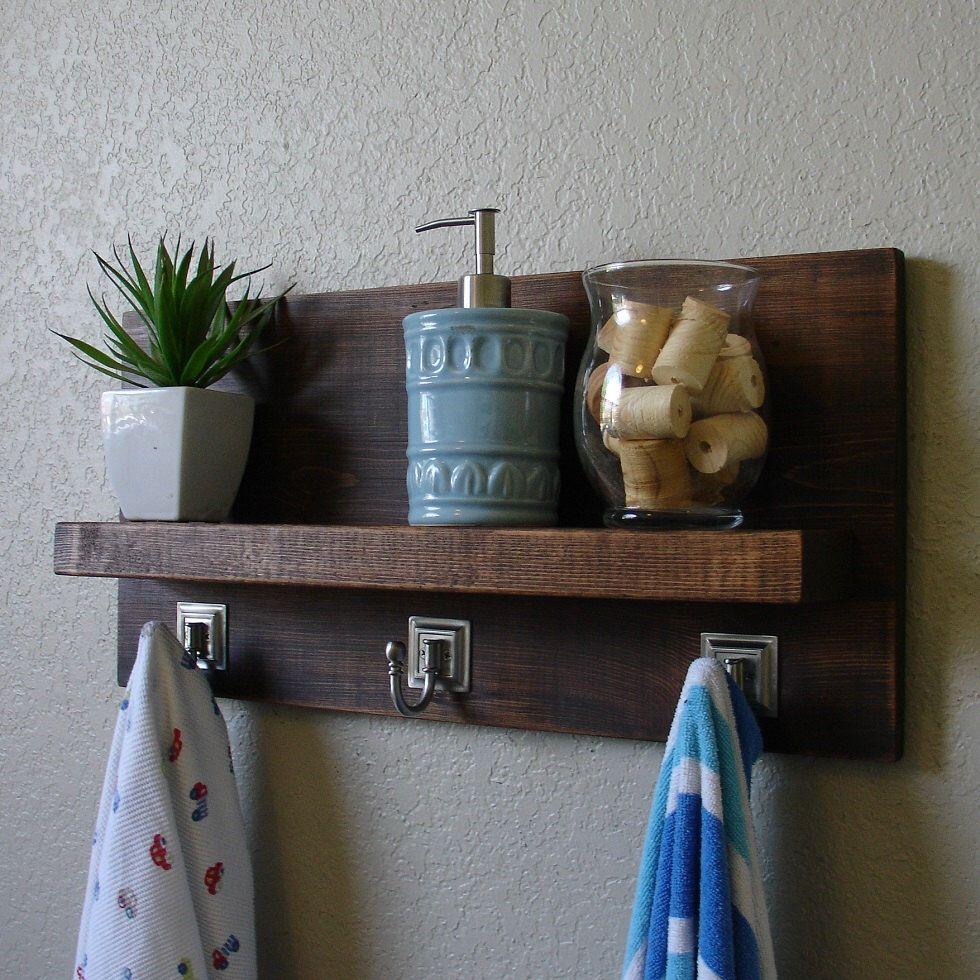 Simply Modern Rustic Bathroom Shelf With An 18 Brushed Etsy Rustic Bathroom Shelves Rustic Bathroom Shelves