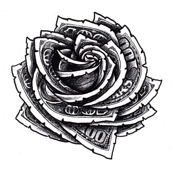 Hundred Dollar Bill Rose Floral Tattoo Design | Tattoos ...