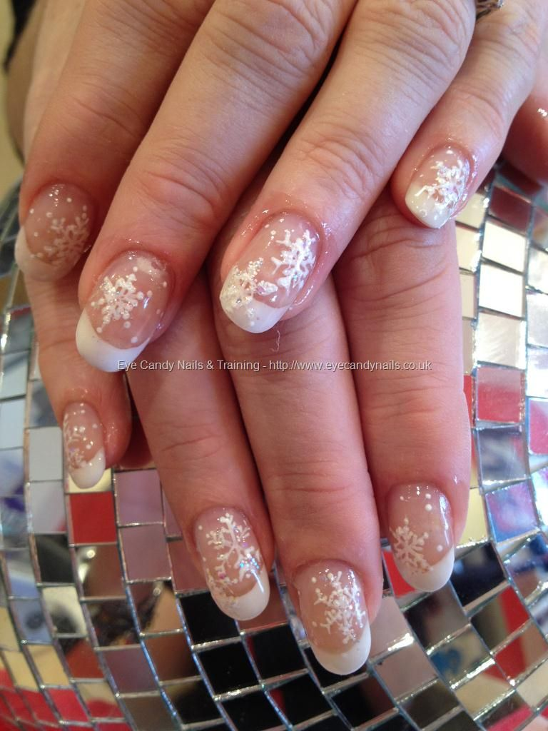 Punk and white acrylic with freehand snowflake nail art   Nail ...